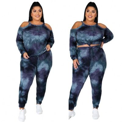 New Style Casual Fashion Off Shoulder Fall Long Sleeve Tie Dye Two Piece Set Plus Size 2 Piece Set Women Clothing