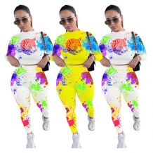 New Design Printed Crop Top Long Sleeve Pants Casual Wear Fall 2020 Women Clothes 2 Piece Set Women Clothing