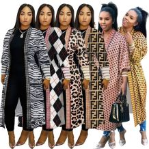 Wholesale Latest Design 2020 Fall Long Wind Coat  Leopard Print Winter Tops Women Autumn Jackets And Coats