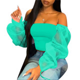 Latest Design 2020 Summer Ladies Fashionable Casual Off The Shoulder Sexy Perspective Women Tops Shirt And Blouse