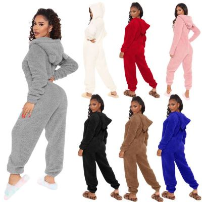 Best Design Hoodie Solid Cute New Long sleeves Women One Piece Jumpsuits And Rompers Winter Clothes For Women