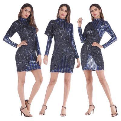 Best Seller New Style Patchwork Design Round Collar Sequin Stripe Women Dresses Dress Ladies Girls' Dresses