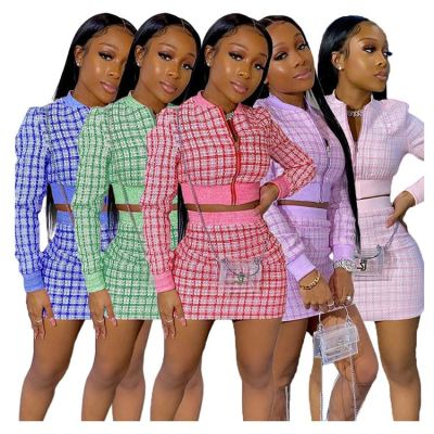 Hot Selling Elegant Plaid Zipper Long sleeves Short Dresses Women Dress sets Fashion Clothing Two Piece Skirt Set