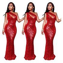 Newest Design Casual Fashion One Shoulder Sleeve Sequin Club Long Dress Women Elegant Dresses Women Lady