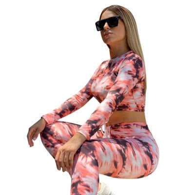 Best Selling Wholesale New Trendy Fashion Casual Tie Dye Women Clothing Two Piece Set Women Clothing