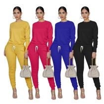 New Style Hot Selling Casual Fashion Solid Color  Women Clothing Top And Bottom Two Piece Sweat Suit