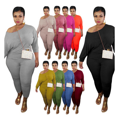 Hot Sale Good Quality 2020 Fashion Casual Solid Color Womens Clothing Plus Size Top And BottomTwo Piece Set