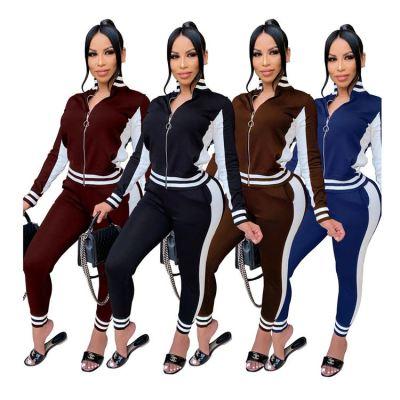Hot Sale Casual Fashion Autumn Stripe Zipper Top And Pants 2 Piece Set Women Two Piece Set Women Clothing