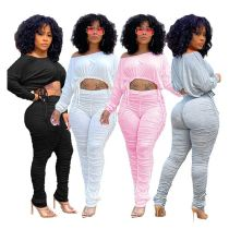 New Trendy Off Shoulder Crop Top Pleated Long Pants Casual 2020 Womens Two piece 2 Piece Set Women Clothing