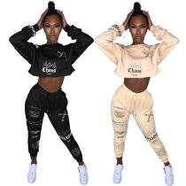 New Fashion Print Crop Top Long Drawstring Pants Winter Clothes 2020 Womens 2 Piece Set Two piece Women Clothing