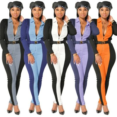 Best Design Contrast Color Zipper Belt Casual Clothing Women Bodycon Jumpsuit One Piece Jumpsuits And Rompers