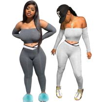 New Arrival Good Quality Fashion Sexy Off Shoulder Top And Pants Autumn Women Clothing For Two Piece Set