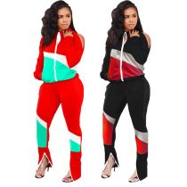 Latest Design High Quality Autumn Ladies Fashion Casual Patchwork Clothing Two Piece Set Women Clothing