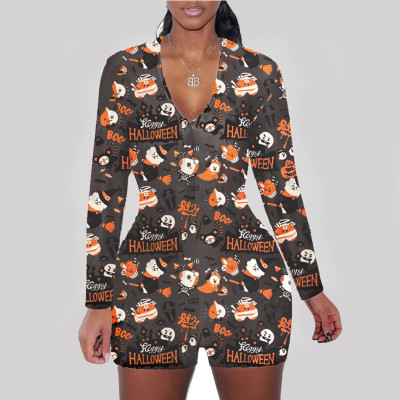 Hot Selling Helloween Printed Long Sleeve Bodycon Jumpsuit Short Pant One Piece Jumpsuits Women Jumpsuits And Rompers