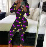 Best Seller Zipper V Neck Casual Pattern Long Pants One Piece Jumpsuits Rompers Womens Jumpsuit For Women