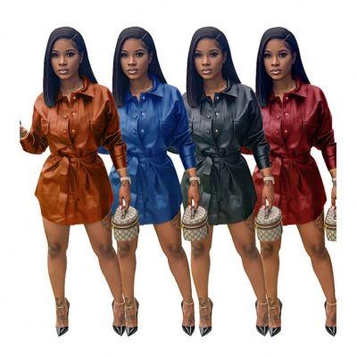 New Stylish High Quality Fashion Casual Elegance Women Dress Pu Leather Women Dresses For Cute Ladies clothing