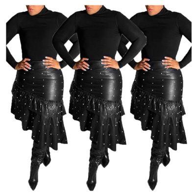 New Style High Quality Fashion Tendency Elegance Asymmetric Beading Ruffles Women Leather Skirt For Women