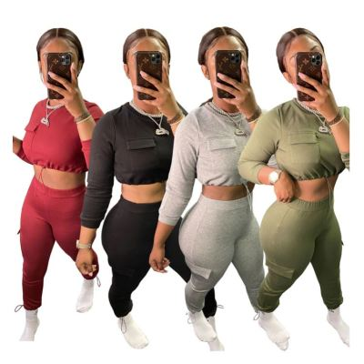 New Design 2020 Fashion Casual New Trend Corp Top And Pants 2 Piece Set Women Two Piece Set Women Clothing