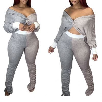 Latest Design off Shoulder Fashion Casual Female Clothes 2020 Women Clothing Two piece Sets 2 Piece Set