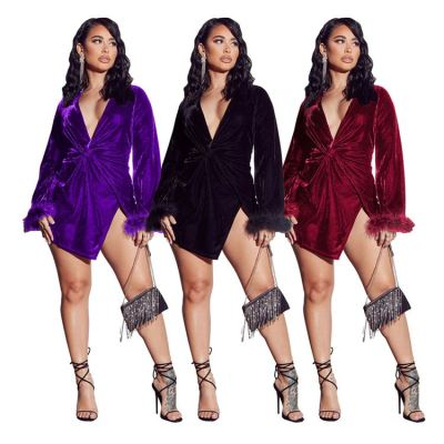 High Quality Solid Bright Color V Neck Womens Sexy Dress Ladies Woman Dresses New Arrivals Bodycon Dress