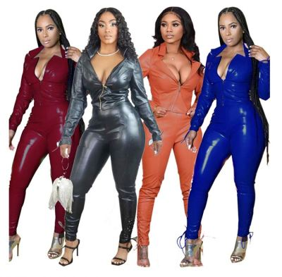 Newest Design Fashion Sexy 2020 Autumn Pu Leather Women Sets Zipper Top And Pants Two Piece Set Women Clothing