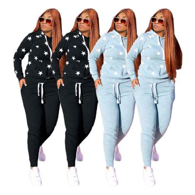 Design Fashion Hoodie Star Sports Clothes Tracksuit 2 Piece Outfit Sets Womens Two Piece Set Women Clothing