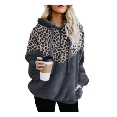 Lowest Price Hoodie Leopard Casual Wear Autumn And Winter Woman Tops Women Top Ladies Tops Latest Design