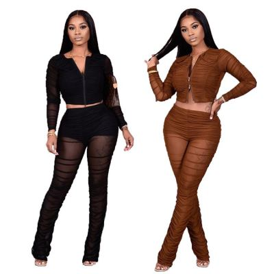 Hot Selling Latest Design Fall 2020 Fashion Casual Mesh Splice Women Clothes Autumn Womens Two Piece Set