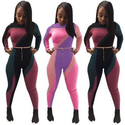 Newest Design Colorful Long Sleeves Stretchy Lovely Fashion Sports Women Sets Clothing Womens Two Piece Set
