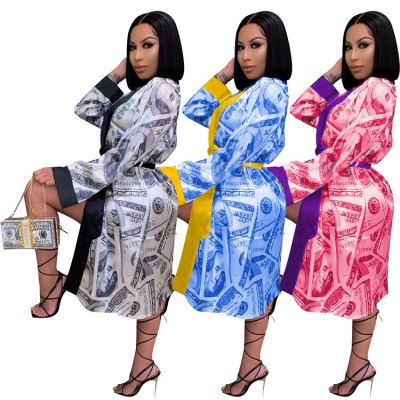 Latest Design Long Sleeve New Style Money Printed Sleepwear Club Dress Woman Casual Dress Women Lady Elegant