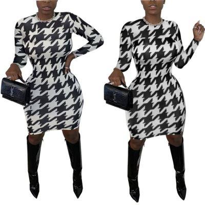 New Arrival Wholesale Womens Fall Fashion 2020 Contrast Color Dresses Women Casual Dresses Women Lady Elegant