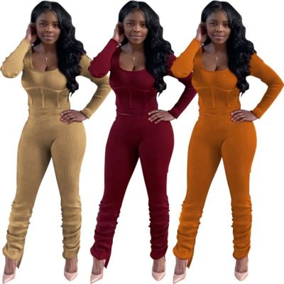 Newest Design Fashion Casual Womens Winter Clothing 2020 Ladies Solid Color Square Collar Two Piece Set Women Clothing