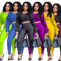 Wholesale Fashion Solid Color Casual Winter 2 Piece Set Long Pants Set Womens Two Piece Sets Women Clothing