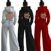 Newest Design Backless Lacing Wide Leg Sexy 2020 Winter Womens Clothing Hoodie Sets 2 Piece Set Women Clothing
