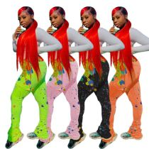 New Trendy Woman Tops Fashionable Colorful Print Leggings For Women Trousers For Ladies Women Stacked Joggers