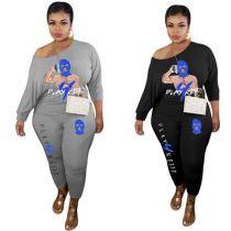 Latest Design Fashion Casual Womens Winter Clothing 2020 Cartoon Print Women Plus Size 2 Piece Set Clothing