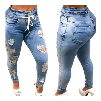 High Quality Wholesale Price Autumn Fashion Women Jeans Pants 2020 Casual Hole Ladies Pants Denim Bottom