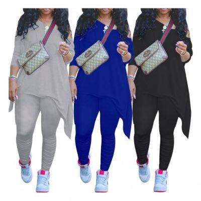 Newest Designs One Shoulder Loose Style Female Plus Size Clothes 2 Piece Set Clothing Women Two Piece Set