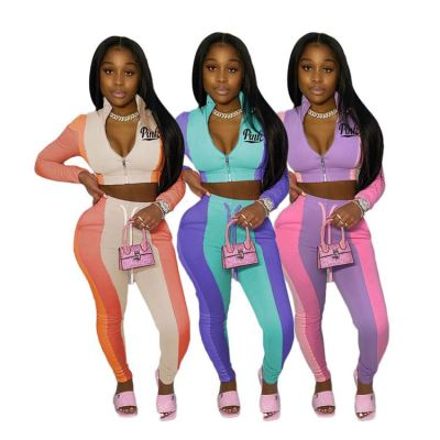 Wholesale New Contrast Color Zipper Crop Top Cool 2 Piece Set Two Piece Set Women Clothing Sets Womens Clothing