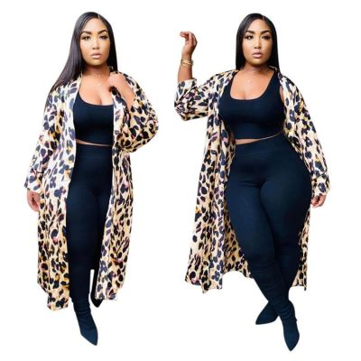 Best Seller Good Quality Winter Autumn 2020 Fashion Casual Leopard Long Jacket Coat Women Top Blouse Tops