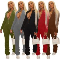 Best Seller Solid Color Long Sleeve One Piece Jumpsuit Stacked Jumpsuit And Rompers Womens Bodycon Jumpsuit