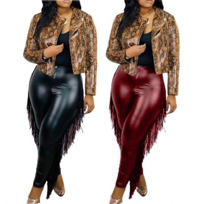 Hot Onsale Good Quality Fashion Womens Winter Clothing 2020 Casual Tassels Women Plus Size Leather Pants
