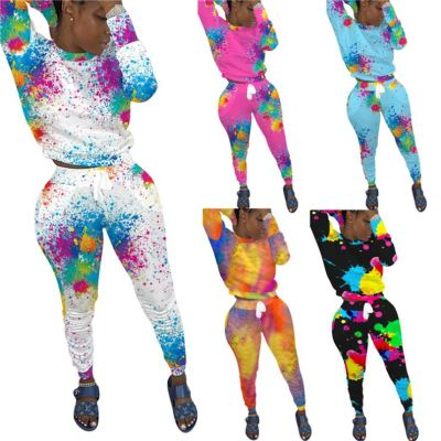 Lowest Price Colorful Tie Dye Lovely Long Sleeve Fashion 2 Piece Set Two Piece Set Women Sets Womens Clothing