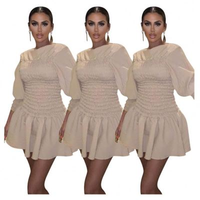 New Style Wholesale New Casual Fashion Dress 2020 Casual Cute Long Sleeve Policated Dress Women Clothing