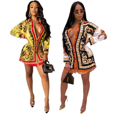 Wholesale Fall Fashion Clothing For Women Colorful Print Lady Shirt Dress Casual Dresses Women Lady Elegant
