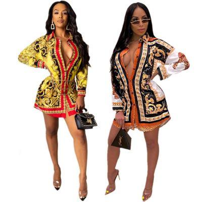 Wholesale Fall Fashion Clothing For Women Colorful Print Lady Shirt Dress Casual Dresses Women Lady Elegant