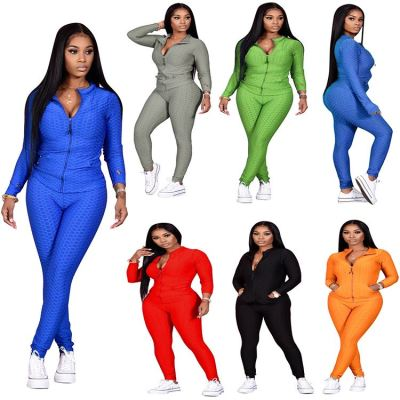Hot Selling Solid Color Long Sleeve Fashion Casual Female Clothes 2020 Womens Two Piece Set Women Clothing Sets