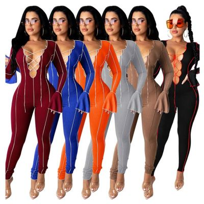New Arrival V Neck Lacing Sexy Flare Sleeve Womens Fashion Clothing Women 2020 One Piece Jumpsuits And Rompers