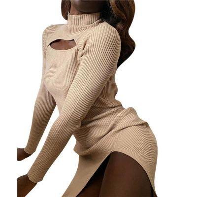 New Stylish Hollow Out Side Slit Sexy Bodycon Ladies Clothes New Casual Dress Womens Women Lady Dresses