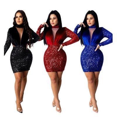 New Style Good Quality Fashion Casual Dress 2020 New Trend Sequin Mesh Club Dress Women Dresses Women Lady